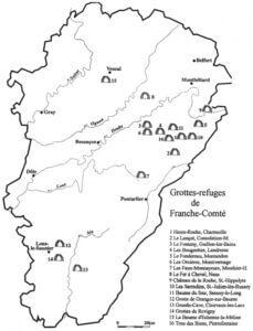 carte des cavernes et grottes refuges pour spéléologie en Franche-Comté Noa Guides